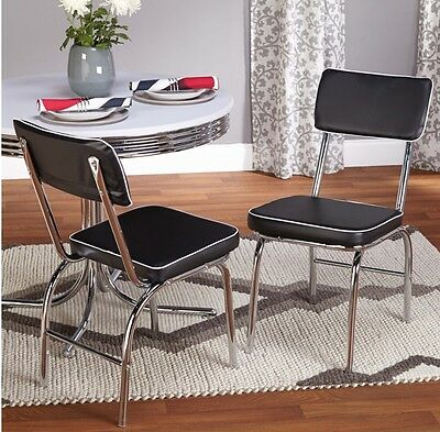 Retro Diner Chairs Chrome Dining Kitchen Chairs Vintage Look Set Of 2 Cafe Black