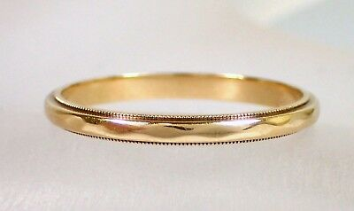ESTATE Antique Art Deco 14k Yellow Gold 2mm Band Ring Wedding Dbl Beaded Sz 7.5