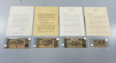 4 Confederate Notes 1863 & 1864 $5 $10 $20 & 50 Cent w/ Documents from 1961