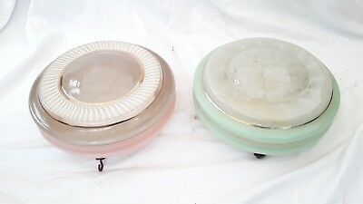 2 x Vintage Art Deco 1930s Green & Pink glass ceiling Light Shade Fly Catchers