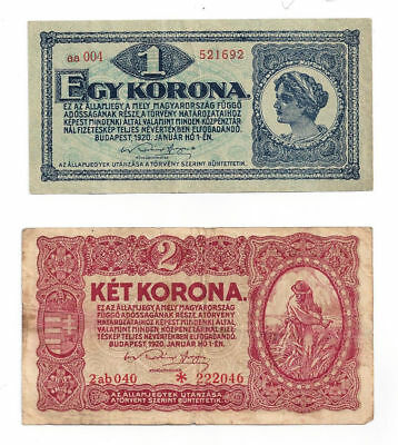 1920 Budapest, Hungary Lot of 2 Notes (1) Egy Korona & (1) Ket Korona Notes