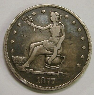 1877 - Silver Trade Dollar - Potty Coin - Scarce & Unusual w/ Nice Details