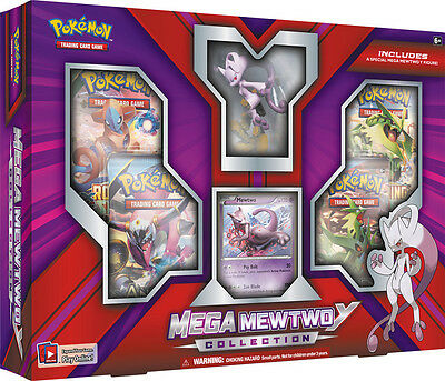 MEGA MEWTWO Y Collection Box POKEMON TCG Cards Sealed 4 Booster Packs & Figure