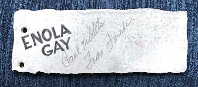 Enola Gay metal B-29 Skin Signed by Paul Tibbets Pilot and Tom Ferebee