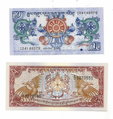 Royal Monetary Authority of Bhutan Lot of 2 Notes 1 Ngultrum & 5 Ngultrum Notes
