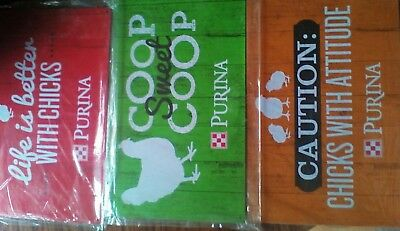 purina chicken sign lot of 3