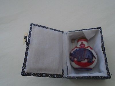 unusual Chinese lacquered snuff bottle with elephant design & original box  LOOK