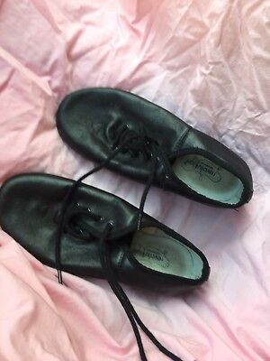 Black Dance Jazz Shoes Adult Size 3 AD Leather Revolution Dancewear Lace Up