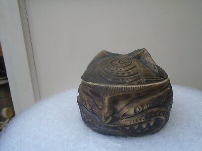 unusual pottery saucepan with strange mask design signed by artist  CURIOUS ITEM