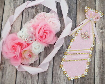 c6b3138a4c Baby Shower Girl Corsage Maternity Belt Sash Mom Dad To Be Ribbon Tie Pin  Set