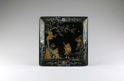 Superb 18/19thC Qing Chinese Lacquer Lac Burgaute  Mother Of Pearl Square Tray