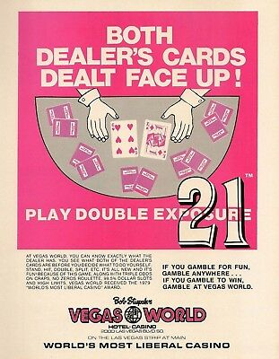 1980 AD Bob Stupak Vegas World Liberal Casino 21 Face-Up Cards Vintage Print Ad