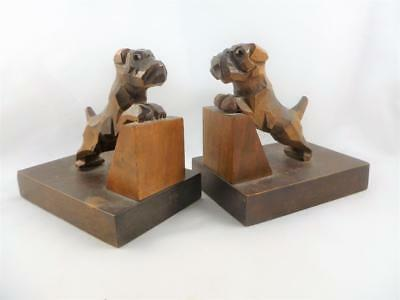 Stylish Art Deco Vintage 1930s Wood Wooden Terrier Dogs Glass Eyes Bookends Desk
