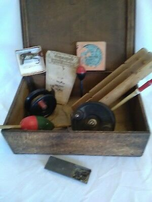 Antique Old Vintage Wooden Fishing Tools Box Reels Flies Floats Tackle Display