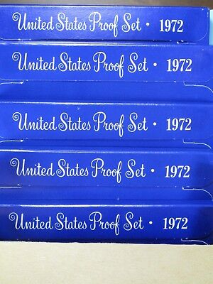 LOT of FIVE 1972 UNITED STATES PROOF SET (5 COINS EACH) ORIGINAL PACKAGING