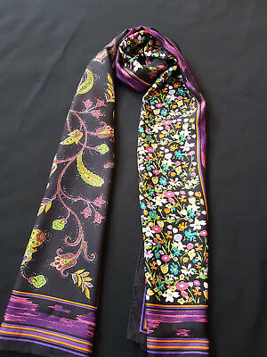 Long Jim Thompson Stylish Floral / Paisley Motif 100% Silk Scarf