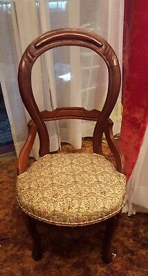 Antique Victorian Balloon-Backed Parlor Chair with pretty, floral tapestry seat.