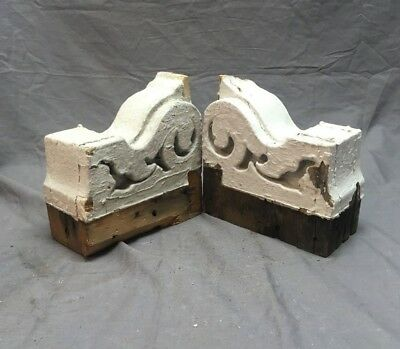 Pr Antique Victorian Gingerbread Roof Corbels Shelf Brackets Vtg Chic 93-18C