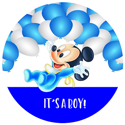 30 Favor Labels Mickey Mouse Baby Shower Envelope Seals Custom Personalized
