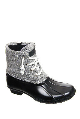 Sperry Top-Sider Young Girls Saltwater Black/Herringbone Snow Boots 4 M YG56016
