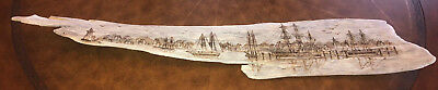 Vintage Signed A Lowther Scrimshaw Carved Driftwood Nautical Seaside Scene