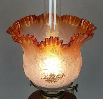 Victorian Amber Etched Glass Kerosene Paraffin Oil Lamp Duplex Tulip Shade