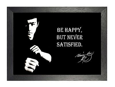 Bruce Lee Be Happy Black and White Motivation Inspiration Quote Poster Signature