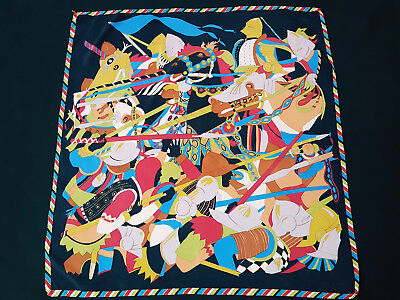 Unbranded Multicolour Cavalry Battle Red Blue Black Motif 100% Silk Scarf
