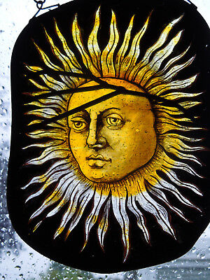 Interesting Stained Glass Sun Arts And Crafts Medieval Victorian Decorative Item