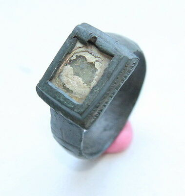 Ancient Medieval Bronze Finger Ring With Inlay (MAY)