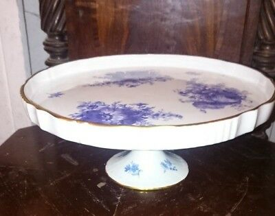 Florial hand painted Blue and White Cake Stand. Porcelain De France