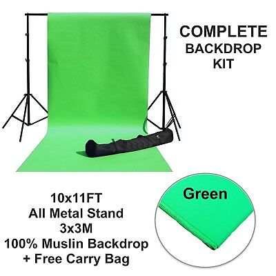 Background Photography Kit Green Screen Muslin Backdrop Stand Bag Photo Studio