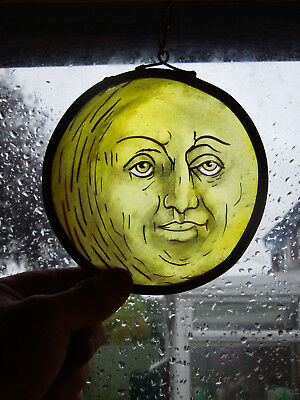 Interesting Stained Glass Moon Medieval Victorian Decorative Interior