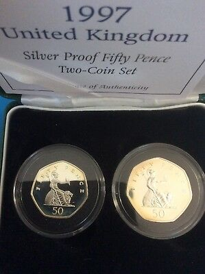1997 U.K. Britain Proof 50 Pence 2 Coin Proof Set With Orig. Box And COA