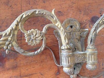 Vintage Antique French bronze brass candles sconces / wall lights x 1 pair