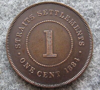 Malaysia Straits Settlements Queen Victoria 1890 Cent Copper, Nice Patina