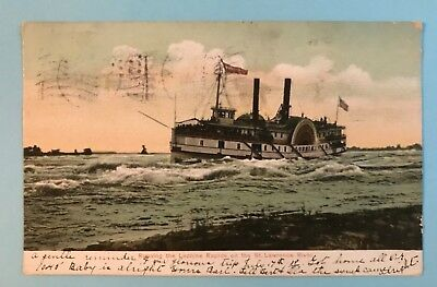 Vintage Postcard, Running the Lachine Rapids on the St Lawrence River,  N.Y.