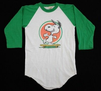 Vtg 1980s Snoopy Raglan T-Shirt Youth Medium skateboard peanuts charlie brown