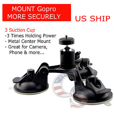 Triple 3 Suction Cup Mount Holder +Ball head for Car Gopro 2 3+ 4 5 6 Camera