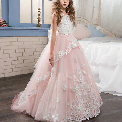 Vintage Lace Butterfly Flower Girls Dress for Birthday Wedding Princess Gown