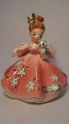 VTG JOSEF ORIGINALS FIGURINE DOLL of the MONTH JULY GIRL w/KITTEN, VG PRE-OWNED