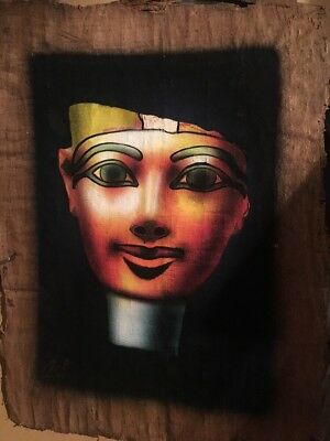 Amazing Hand Painted Papyrus Queen Nefertity