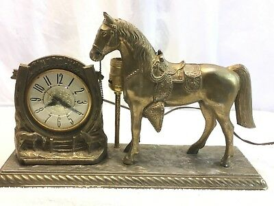Vintage Horse Mantel Clock Lamp A Time For Luck Western Horseshoe   Lanshire