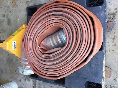 """8"""" discharge hose industrial with cam lock connectors, 100' lay flat. red pump"""