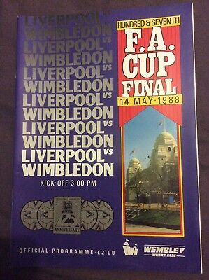 FA Cup Final matchday programme 14 May 1988 Liverpool vs Wimbledon