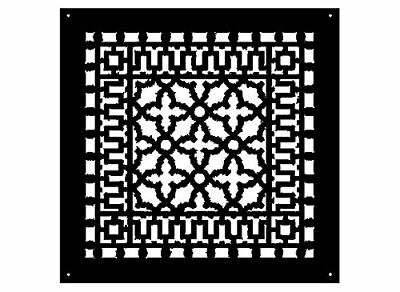 Reggio Registers Aluminum scroll pattern grille 14x14 Black no holes #1616-ABNH