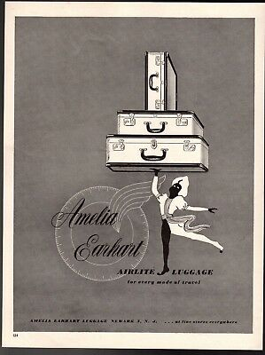 Original 1946 Print Ad Amelia Earhart Airlite Luggage Every Mode of Travel