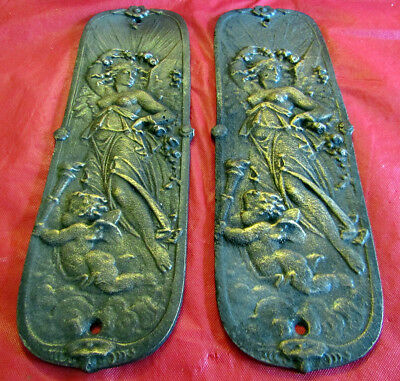2 Antique replica door push plates Victorian maiden cherub Night sky Stars Iron