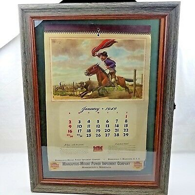 1949 Minneapolis Moline Power Implement Calendar Wood Frame Glass Display Case