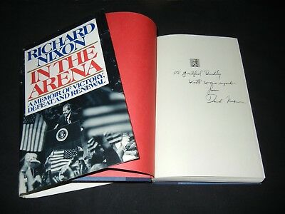 "RICHARD ""DICK"" NIXON Signed Autograph ""IN THE ARENA"" Book US President 1st Ed"